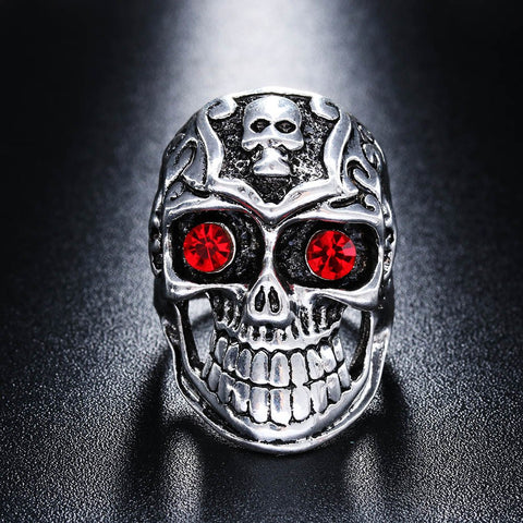 Red Eyed Antique Silver Skull Ring Mens Rings & Chains