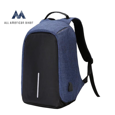 Anti-Theft Notebook Backpack With Usb Port Blue / 17.3X12.6X3.9In Pet & Outdoor Accessories
