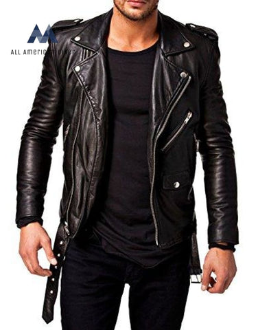 Best Seller Leather Mens Jacket X-Small All American Biker