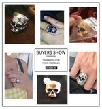 Big Punk Biker Skull Ring For Man Unique Vintage Streampunk Jewelry Motorcycle