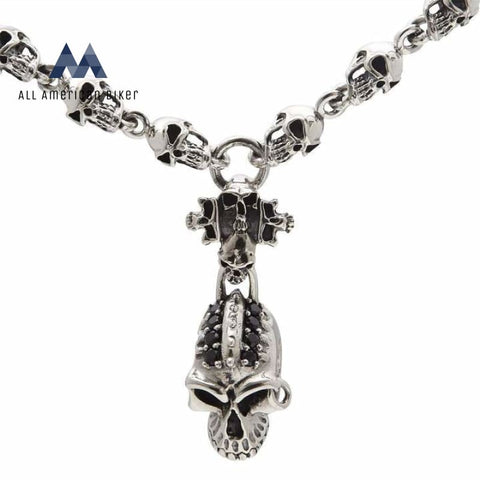 Bikers Skull Sterling Silver Necklace