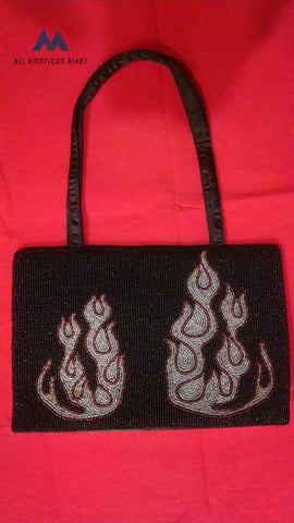 Black Beaded Flames Biker Motorcycle Evening Handbag Purse Snap Closure Nwot. Bags