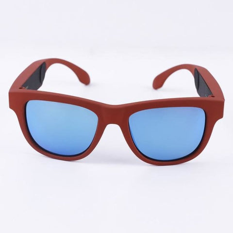 Bone Conduction Bluetooth Sunglasses Red Frame Blue Lens Mens Eyewear & Wallets