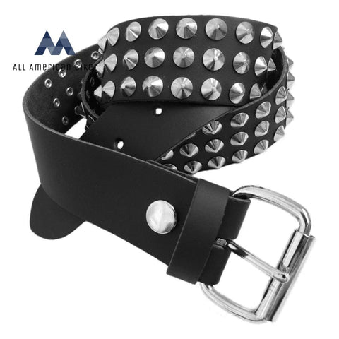 Bullet 69 Conical Studded Black Leather Rocker Biker Belt 2Xl (46-50) / 3 Row All American