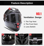 Carbon Fiber Top Racing Full Face Motorcycle Helmet Sports Car Moto Helmets Ls2 Ff323 Helmets