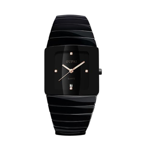 Classic Black Tonneau Ceramic Watch Square Quartz Men Waterproof With Calendar Luminous Sport 4