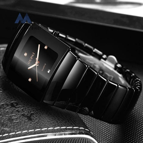Classic Black Tonneau Ceramic Watch Square Quartz Men Waterproof With Calendar Luminous Sport