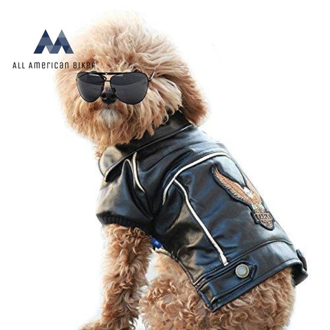 Dog Winter Coat Pu Leather Motorcycle Jacket For Pet Clothes Waterproof Xs All American Biker