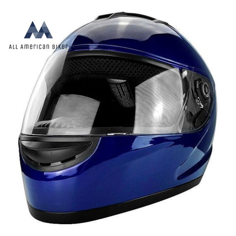 Dot Full Face Motorcycle Helmet W/ Washable Liner Components - Gloss Blue Adult L Helmets