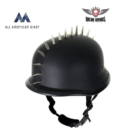German Flat Black Motorcycle Helmet With Spikes - Size L Helmets