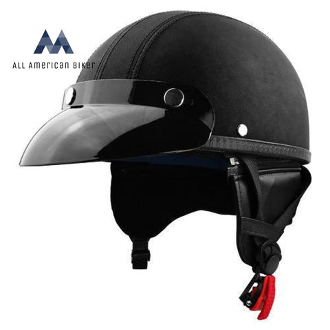 Half Motorcycle Helmet With Visor Black Canvas Dot 3 Year Warranty Adult L Helmets