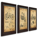Harley Davidson Patent Prints - Framed Behind Glass 14X17 (Two Bikes 2Pc Set) All American Biker