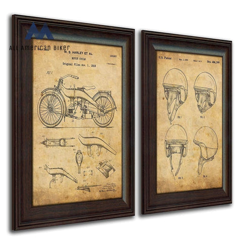 Harley Davidson Patent Prints - Framed Behind Glass 14X17 (Two Bikes 2Pc Set) Helmet And Bike Set