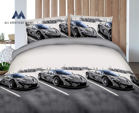 Hig Vivid 3D Bed Sheet Set Sport Bike Motorcycle Besides Mountain Road Print In Queen King Size -