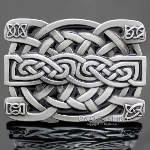 Celtic Trinity Cross Knot Silver Belt Buckle Mens Jackets & Pants