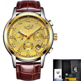 Men Quartz Watch Gold Waterproof Leather All Gold Mens Watches