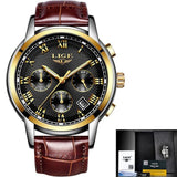 Men Quartz Watch Gold Waterproof Leather Black Mens Watches