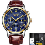 Men Quartz Watch Gold Waterproof Leather Blue Mens Watches