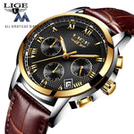 Men Quartz Watch Gold Waterproof Leather Mens Watches