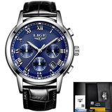 Men Quartz Watch Gold Waterproof Leather Silver Blue Mens Watches