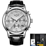 Men Quartz Watch Gold Waterproof Leather Silver White Mens Watches