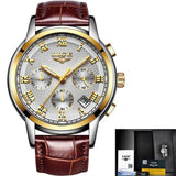 Men Quartz Watch Gold Waterproof Leather White Mens Watches