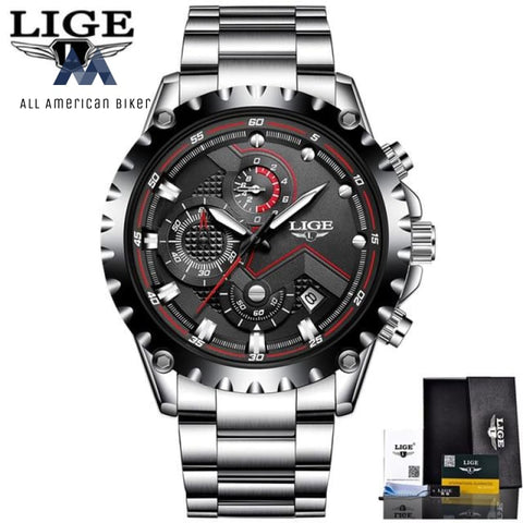 Men Sport Quartz Clock Luxury Full Steel Business Waterproof Watch Relogio Masculino Black Mens