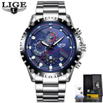 Men Sport Quartz Clock Luxury Full Steel Business Waterproof Watch Relogio Masculino Blue Mens