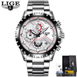 Men Sport Quartz Clock Luxury Full Steel Business Waterproof Watch Relogio Masculino White Mens