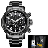 Mens Automatic Waterproof Chronograph Watch All Black Watches