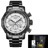 Mens Automatic Waterproof Chronograph Watch Black White Watches