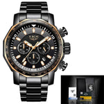 Mens Automatic Waterproof Chronograph Watch Gold Black Watches