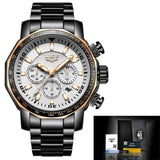 Mens Automatic Waterproof Chronograph Watch Gold White Watches