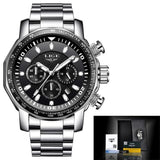 Mens Automatic Waterproof Chronograph Watch Silver Black Watches