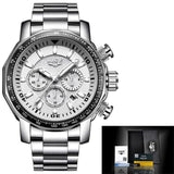 Mens Automatic Waterproof Chronograph Watch Silver White Watches