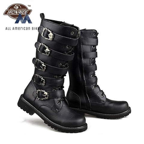 Mens Buckle Motorcycle Armor Leather Boots Body