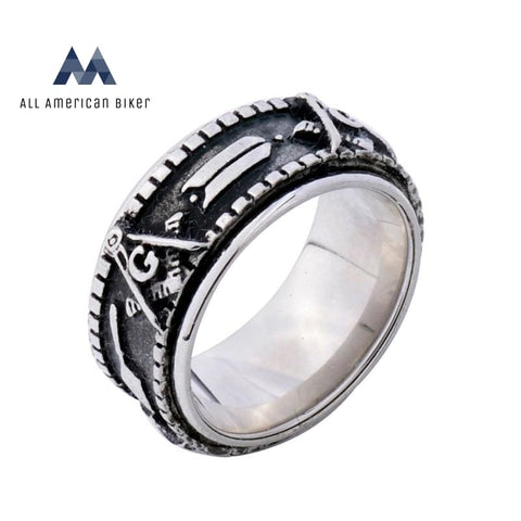 Mens Motorcycle Spinner Gold Black Freemason Rings 7 / Silver