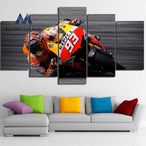 Modern 5 Pieces Sports Motorcycle Racing Canvas Painting Framework Hd Print Wall Art Pictures Or