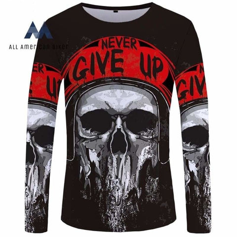 Motorcycle Long Sleeve T Shirt Skull Clothing Skeleton 3D T-Shirt Men Rock Sexy Slim New Mens Tee