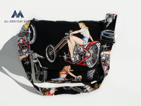 Motorcycle Pinups Messenger Bag Bags