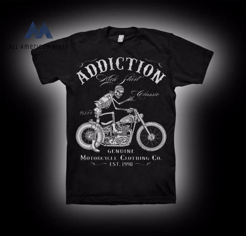 Motorcycle Start V Twin Vintage Rigid Frame T Shirt His & Her Tees