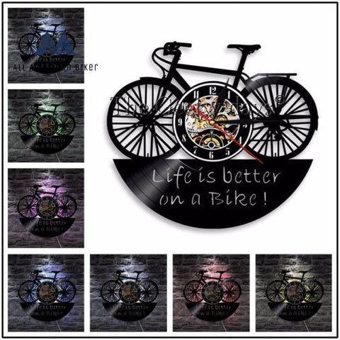 Mountain Biking Vinyl Record Wall Clock White / 12 Inch Without Led Home Accessories