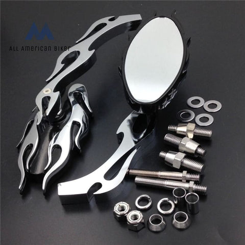 New Universal Chrome Aluminum Motorcycle Flame Style Rearview Mirror For Any Cruiser Chopper Or