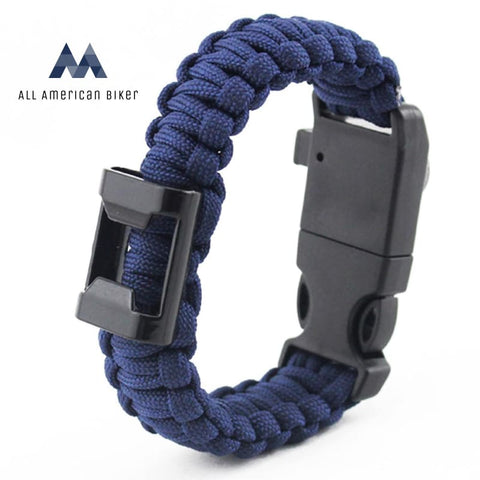 Paracord Survival Bracelet With Bottle Opener Hiking Scraper Emergency Whistle Compass Fire Starter
