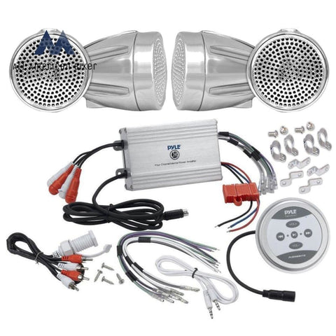 Pyle Kthsp430 1200W Motorcycle/ Atv/ Snowmobile Sound System With Bluetooth Amp/ Weatherproof