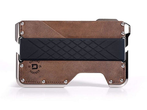 Rfid Blocking Genuine Leather Nickel-Plated Wallet Cnc-Machined Aluminum 2 Oz. - Made In Usa Brown