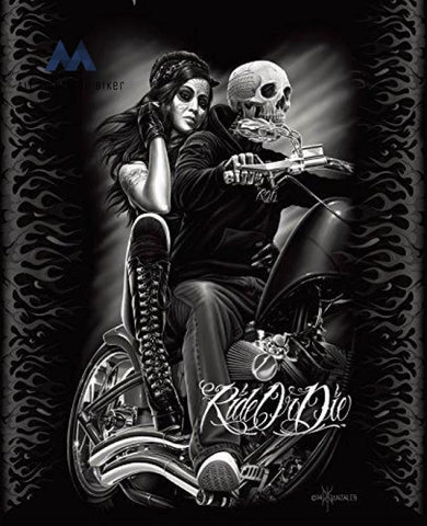 Ride Or Die Motorcycle Biker Babe Queen Size Luxury Royal Plush Blanket All American