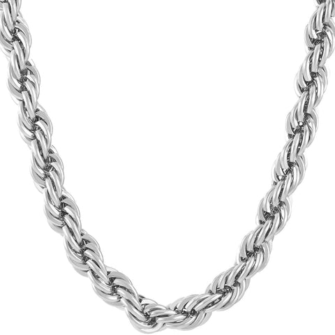 Rope Chain 7Mm 24K Diamond Cut Necklaces In Yellow Or White Gold Over Semi Precious Metals Made Usa