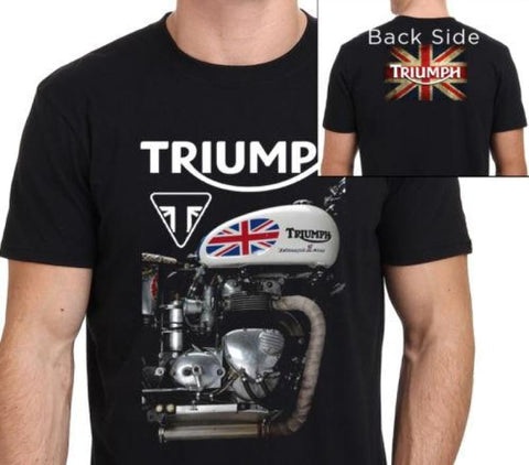 Triumph Motorcycle T-Shirt (Two-Sided) Us Plus Size S-3Xl Black 1 / S