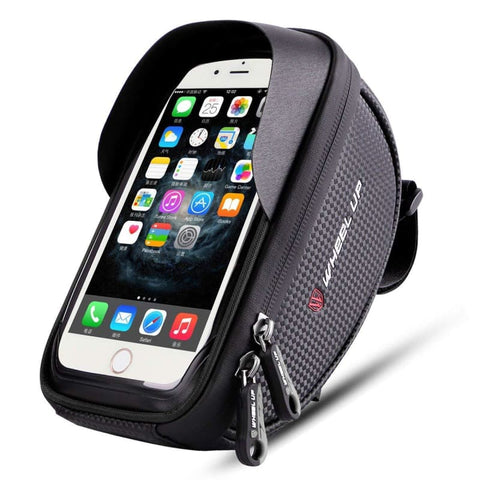 Wallfire Bike Phone Mount Bag Bicycle Frame Handlebar Bags With Waterproof Touch Screen Case Black